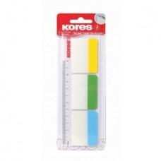 Закладки с клейким слоем Kores, 37х50 мм, 30 шт., пластиковые полупрозрачные, 3 неоновых цвета