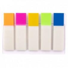 Закладки с клейким слоем Optima, 12х45 мм, 100 шт., пластиковые полупрозрачные, 5 неоновых цветов