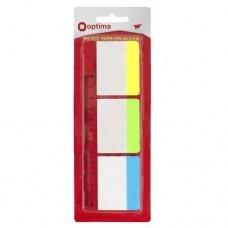 Закладки с клейким слоем Optima, 40х50 мм, 30 шт., пластиковые полупрозрачные, 3 неоновых цвета