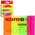 Закладки с клейким слоем Kores, 20х50 мм, 200 шт., бумажные, 4 неоновых цвета