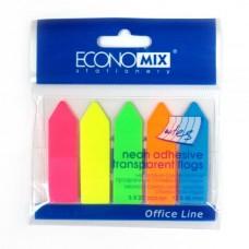 """Закладки с клейким слоем Economix """"Стрелки"""", 12х45 мм, 125 шт.,пластиковые полупрозрачные, 5 неоновых цветов"""