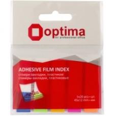 Закладки с клейким слоем Optima, 15х50 мм, 500 шт., бумажные, 5 неоновых цветов