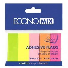 Закладки с клейким слоем Economix, 15х45 мм, 150 шт., бумажные, 5 неоновых цветов