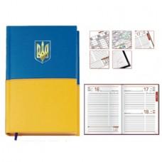 Ежедневник полудатированный Optima Capys, А5, 384 л., искусственная кожа, желто-голубой