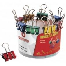 Биндеры для бумаги 19 мм Optima, цветные, в пластиковом тубусе, 40 шт.