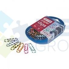 """Скрепка 28 мм круглая Optima, цветная """"Зебра"""", в пластиковой коробке, 100шт."""