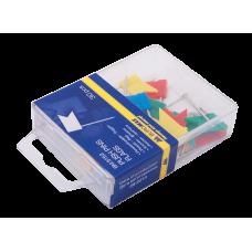 """Кнопки-гвоздики цветные Buromax """"Флажки"""", пластиковый контейнер, 30 шт."""