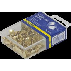 Кнопки металлические золотые Buromax, пластиковый контейнер, 100 шт.