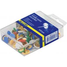 Кнопки металлические цветные Buromax, пластиковый контейнер, пластиковое покрытие, 100 шт.