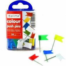 Кнопки-гвоздики с флажком Optima, в пластиковой коробке, 50 шт.