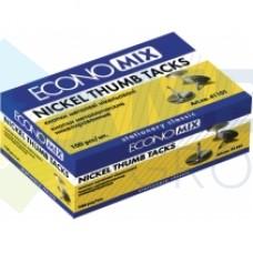 Кнопки металлические Economix, никелированные, 100 шт.