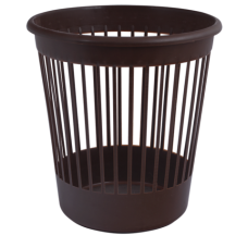 Корзина для бумаг Арника, 10л., круглая, пластиковая, коричневая