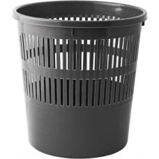 Корзина для бумаг Buromax Jobmax, 8л., круглая, пластиковая, черная