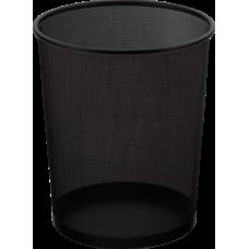 Корзина для бумаг Buromax, 10л., круглая, металлическая, черная