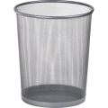 Корзина для бумаг Buromax, 10л., круглая, металлическая, серебристая
