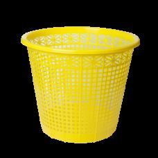 Корзина для бумаг ZiBi, 8л., круглая, пластиковая, желтая