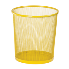 Корзина для бумаг ZiBi, 10л., круглая, металлическая, желтая