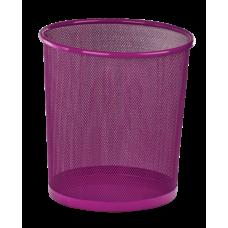 Корзина для бумаг ZiBi, 10л., круглая, металлическая, розовая