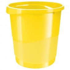Корзина для бумаг Esselte Vivida, 14 л., круглая, пластиковая, желтая
