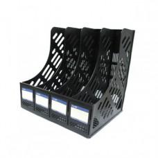 Лоток вертикальный сборный на 4 отделения Economix, пластиковый, черный