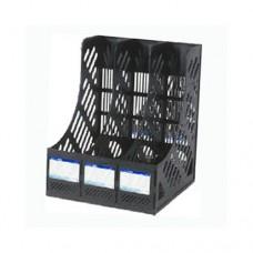 Лоток вертикальный сборный на 3 отделения Economix, пластиковый, черный