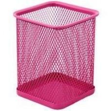 Подставка для ручек прямоугольная Optima, 80х80х100 мм, металлическая, розовая