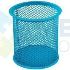 Подставка для ручек круглая Optima, d 85х100 мм, металлическая, голубая