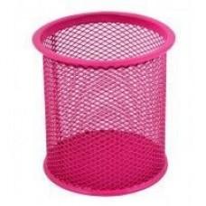 Подставка для ручек круглая Optima, d 85х100 мм, металлическая, розовая