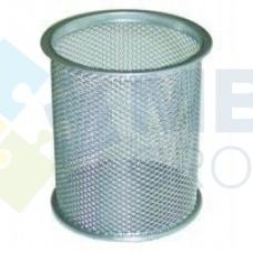 Подставка для ручек круглая Optima, d 85х100 мм, металлическая, серебряная