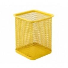 Подставка для ручек прямоугольная Optima, 80х80х100 мм, металлическая, желтая