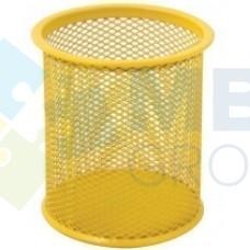 Подставка для ручек круглая Optima, d 85х100 мм, металлическая, желтая
