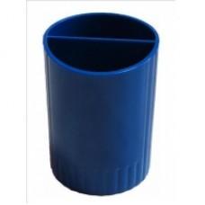 Подставка для ручек на 2 отделения Economix, пластиковая, синяя