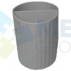 Подставка для ручек на 2 отделения Economix, пластиковая, серая