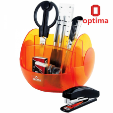 Набор настольный Optima 9 предметов, вращается на 360 °, оранжевый