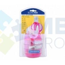 Набор настольный Economix 12 предметов, вращается на 360 °, розовый