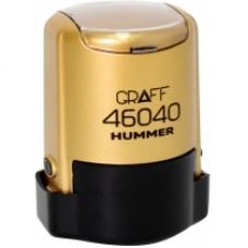 """Оснастка автоматическая GRAFF 46040 HUMMER """"GLOSSY"""", для печати d 40 мм, золотистая с футляром"""