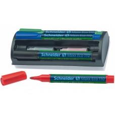 Набор маркеров для досок и флипчартов с губкой и дополнительными патронами в блистере Schneider MAXX 110, 4шт. Ассорти