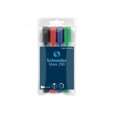 Набор маркеров для досок и флипчартов в блистере Schneider MAXX 290, 4 шт., ассорти