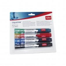 Набор маркеров для досок Nobo Liquid Ink, 4шт., ассорти