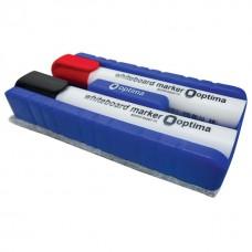 Набор маркеров для белых досок с губкой Optima, 2 шт., ассорти
