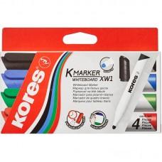 Набор маркеров для белых досок в блистере Kores, 4 шт., ассорти