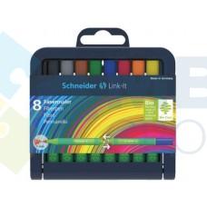 Набор мини фломастеров Schneider LINK-IT, 1 мм, 8 цветов