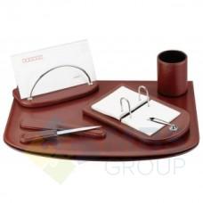 Набор настольный искусственная кожа Cabinet из 5 предметов, бургунди