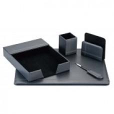 Набор настольный натуральная кожа Cabinet из 6 предметов, черный