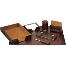 Набор настольный искусственная кожа Cabinet из 7 предметов, коричневый