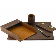 Набор настольный искусственная кожа Cabinet из 5 предметов, коричневый