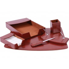 Набор настольный натуральная кожа Cabinet из 6 предметов, коричневый