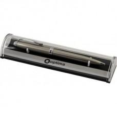 Ручка шариковая автоматическая Optima, металлический бежевый корпус, в подарочной коробке