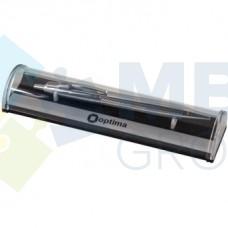 Ручка шариковая автоматическая Optima, корпус серебряный металлик, в подарочной коробке