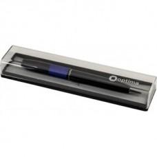 Ручка шариковая автоматическая Optima, металлический корпус черный с синей полосой, в подарочной коробке